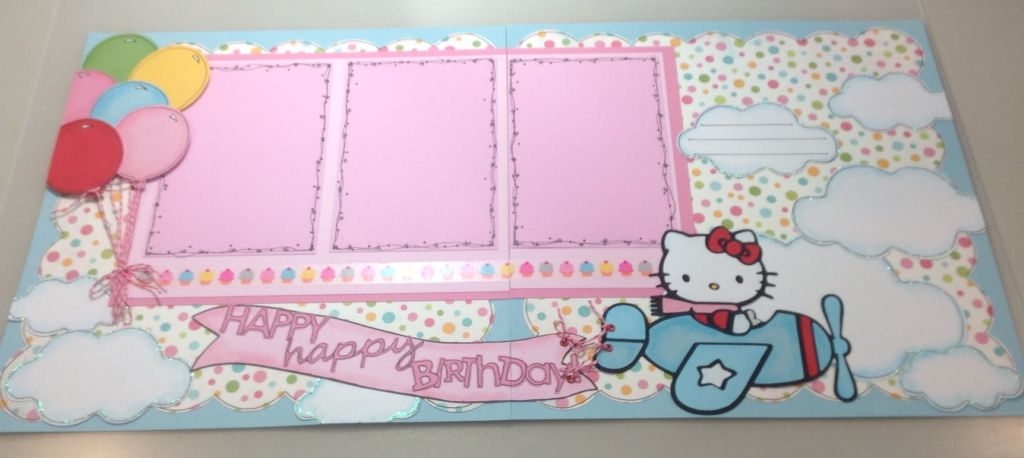 Hello Kitty Birthday double page layout - papercraftsbyviolet on Etsy