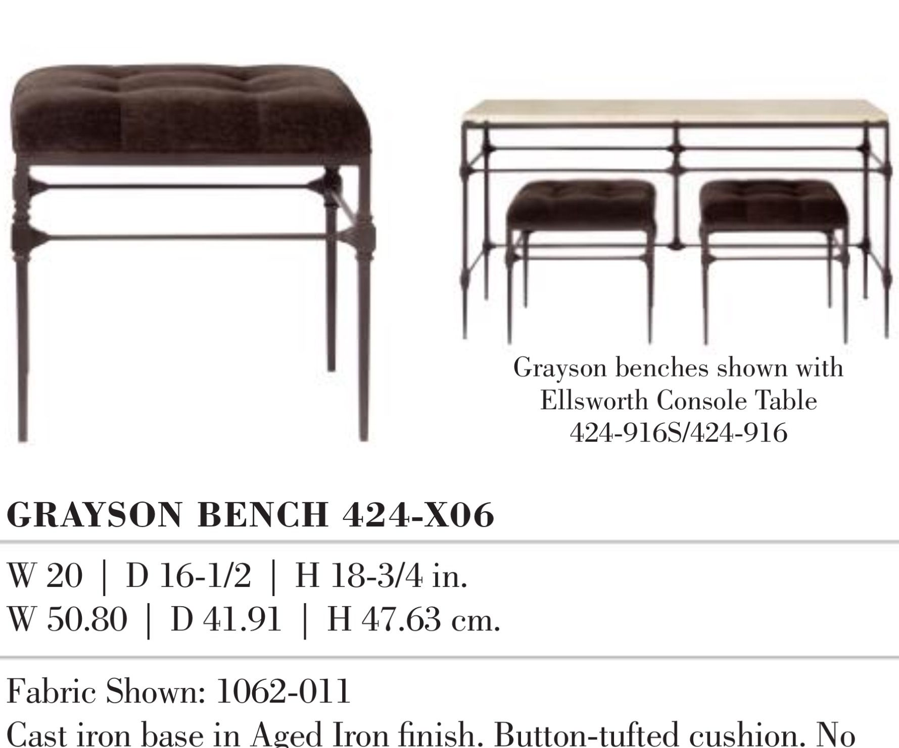 TWO OF THESE TO FIT UNDER GRAYSON TABLE (RIGHT OF FIREPLACE)