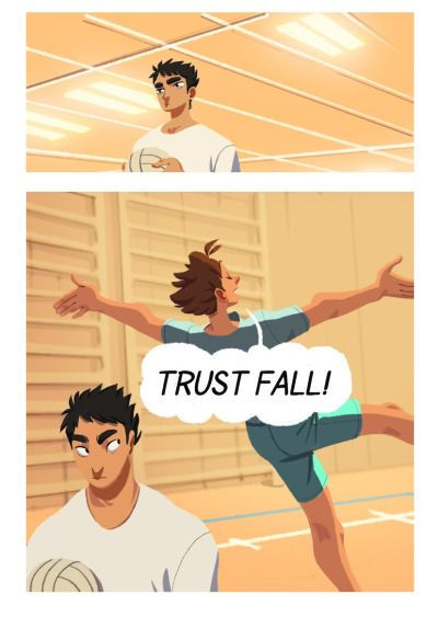 """Trust fall"" Here it is! My small but oh so time consuming Iwaoi comic! As you may notice, I have experimented a bit with lineless art, colors and such. The theme isn't exactly new for these two, but I felt that I have to start at the basics to get to know them! (I feel like I still have a bit left to a good characterization, but I'll be getting there.) I hope you like it!"