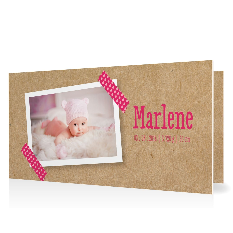 Geburtskarte masking tape in himbeer klappkarte flach for Vintage geburtskarten