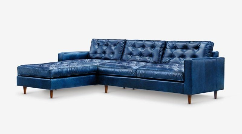 Navy Blue Leather Chaise Sectional Leather Sectional Sofas Blue