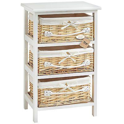 3 Basket Drawer Bathroom Storage Unit Cabinet White vonhaus 3 basket white wicker mdf bedroom #bathroom #cabinet drawers