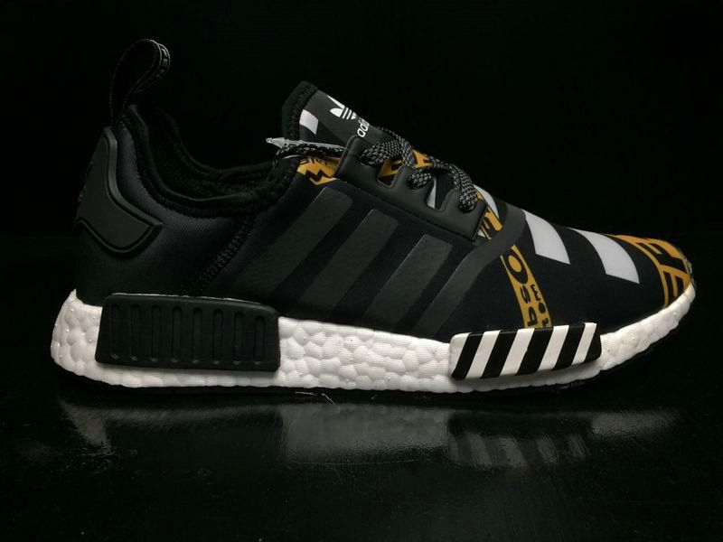 sports shoes 2e5d4 37735 2018 Cheap Unisex OFF-WHITE X Adidas NMD R1 Boost Black Gold BA7528 Newest