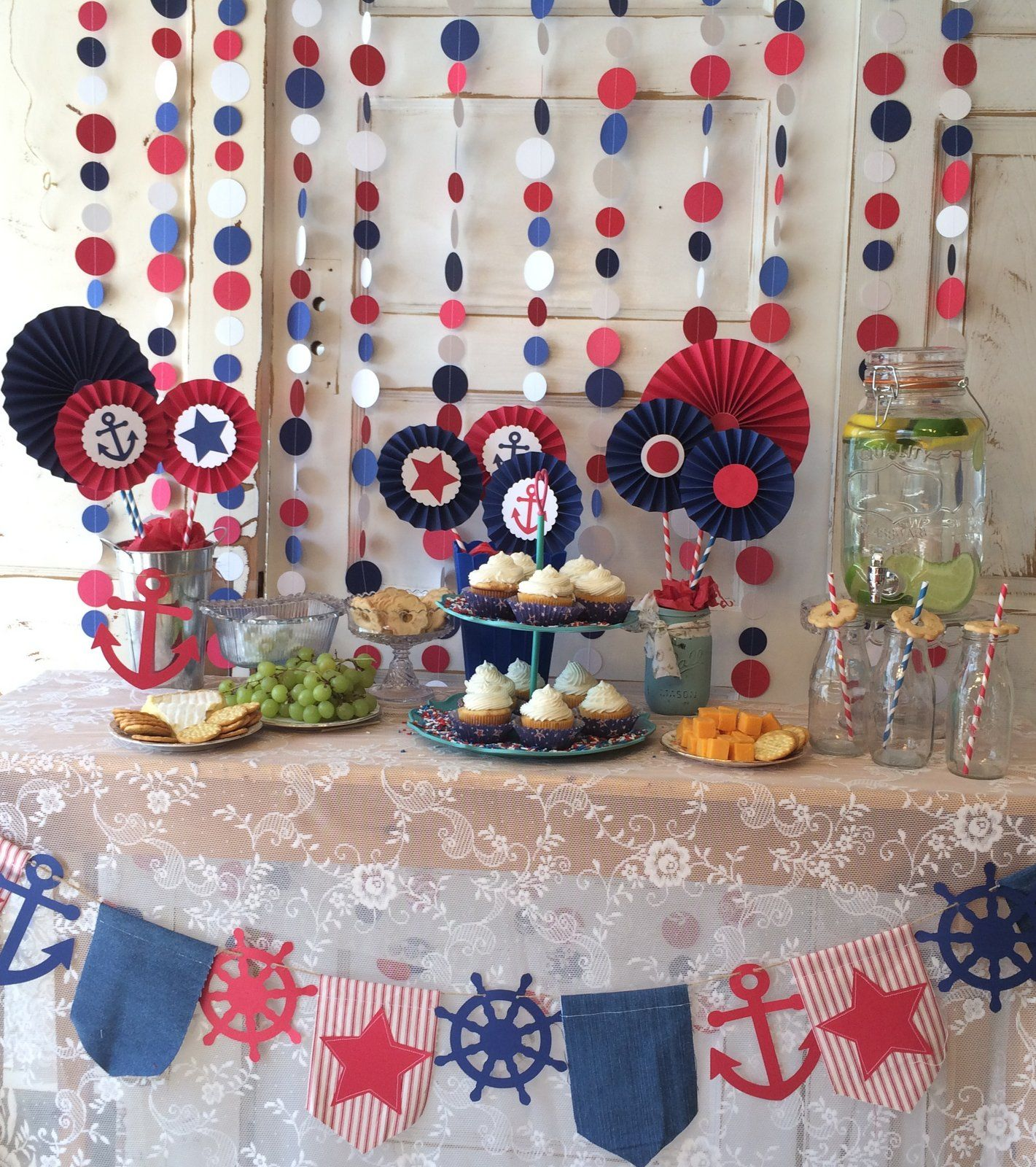 Patriotic Red White And Blue Party Package By Quiltedcupcakecom