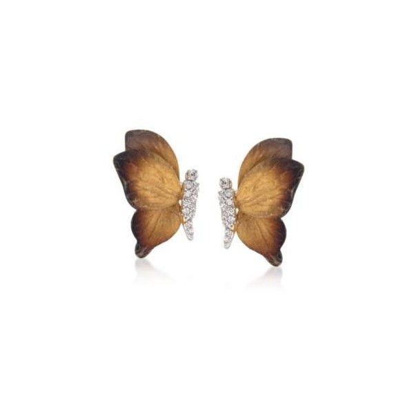 Simon G Diamond Butterfly Earrings in 18kt Two Tone Gold 18 ct
