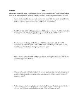 Absolute Value Scenarios | Pinterest | Student learning, Equation ...