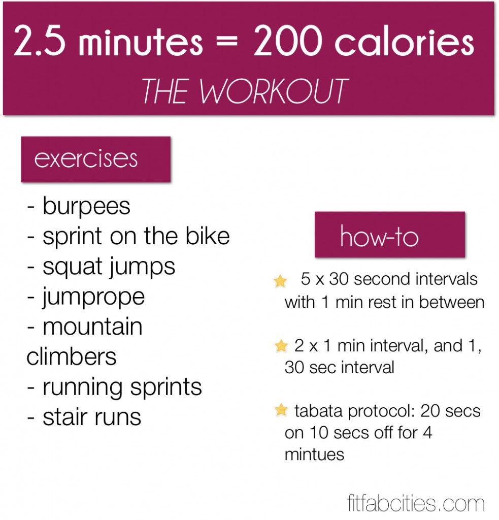 200 calories in 2.5 minutes - Tabata workout. If I take ...
