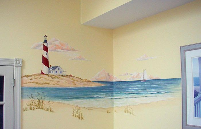 lighthouse wall mural - Google Search | Beach decor | Pinterest ...