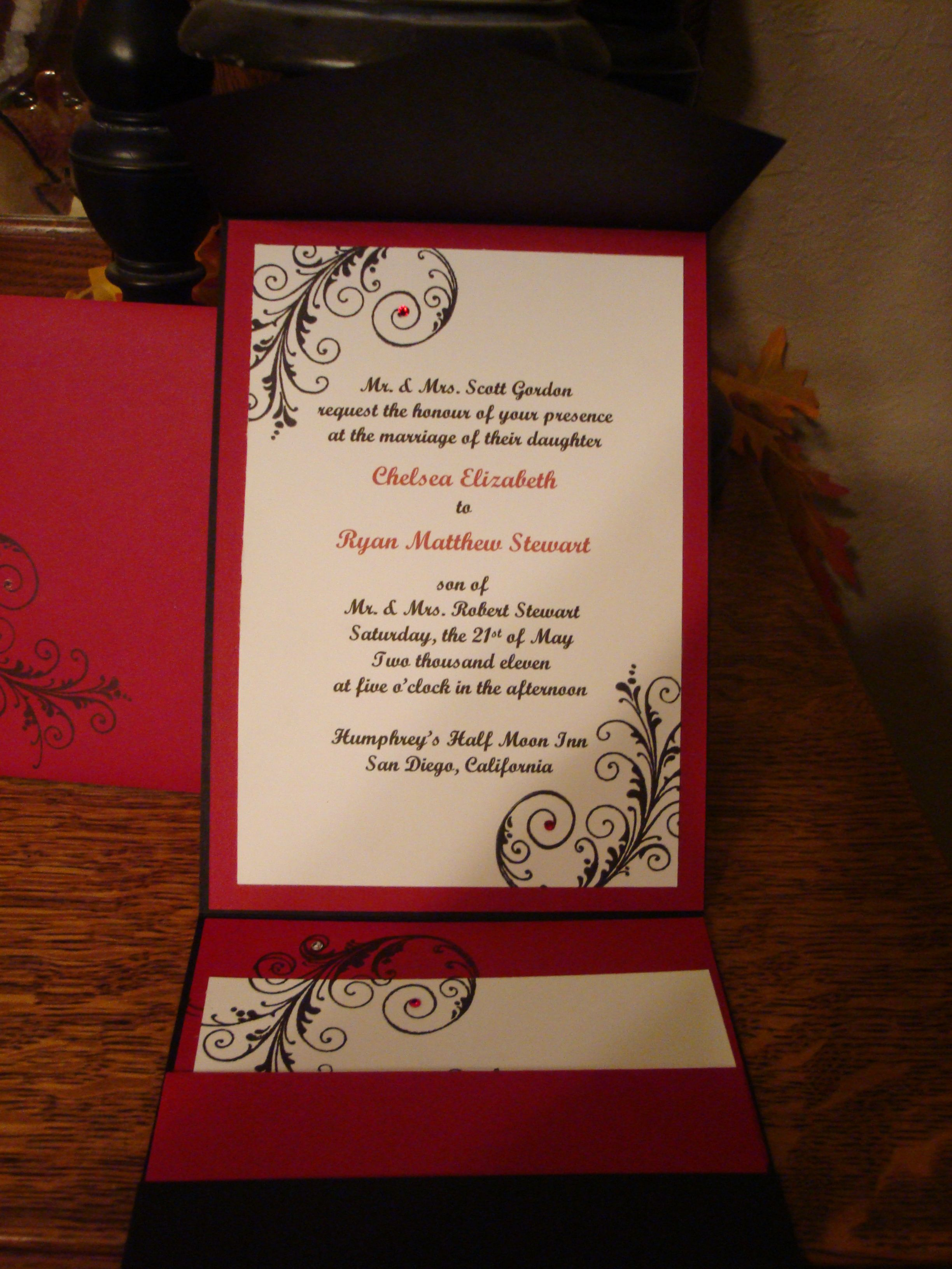 tie ribbon wedding invitation%0A Vintage Hollywood  u     Wedding Invitation  u     Metallic Red Envelope  u     Black Lace   u     Postcard  u     RSVP  u     Rhinestone Buckle  u     Red Satin Ribbon   Aisle Bound  u