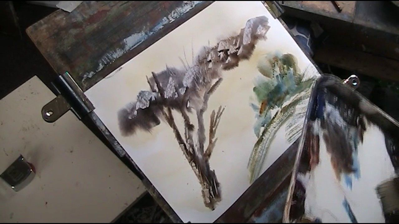 Using A Plastic Card To Create Rocks And Texture In Watercolour