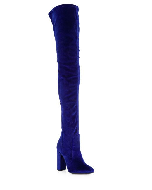 573f7cdffec Women s Blue Velvet Over-The-Knee Boots