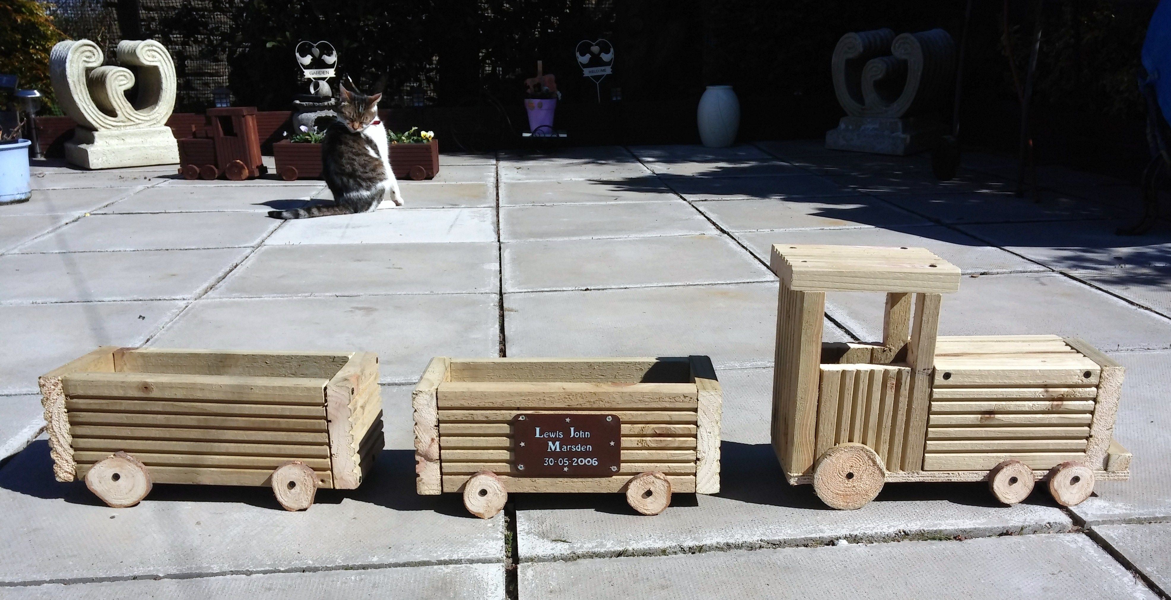 Unstained Train Planter Made From Decking Boards Crate Trainingwood Crates