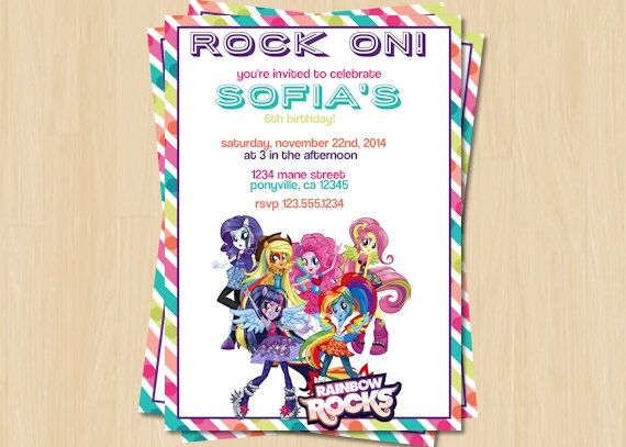 Rainbow rocks invitation my little pony birthday party invitation rainbow rocks invitation my little pony birthday party invitation 4x6 or 5x7 filmwisefo Images