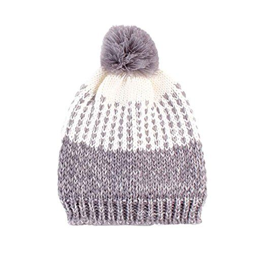 Efaster(tm) Women Fashion Keep Warm Winter Hats Knitted Wool Popular Hat (Gray)