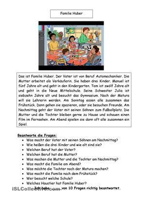 Familie Huber | Schule | Pinterest | Arbeitsblätter, Fragen und Lesen