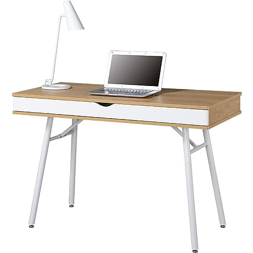 05d0e01a1da A Line Furniture Rovis Cherry-finished Glass Wood Metal Computer Desk with  Pull Out Keyboard Tray