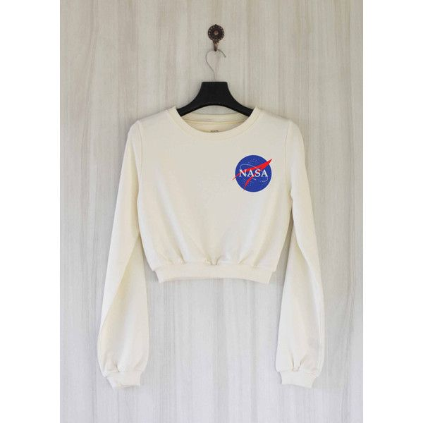 86ee3047619325 Nasa Crop Top Sweatshirt Sweater Shirt Size S M L ( 25) ❤ liked on Polyvore  featuring