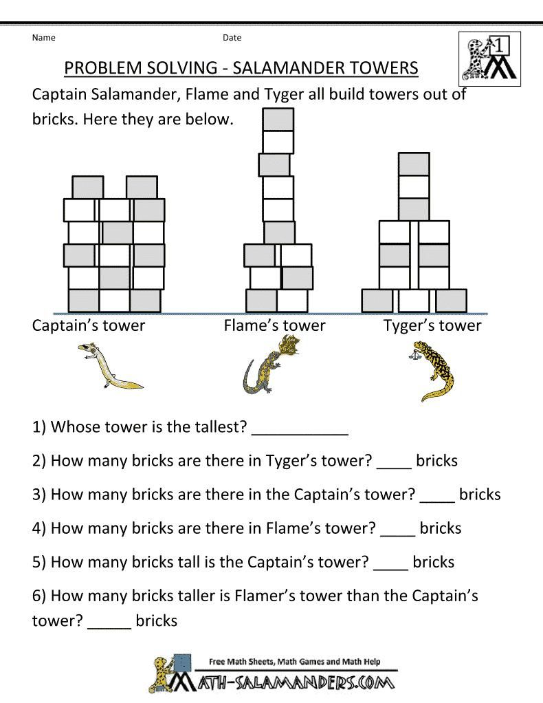 Fine Free Printable Math Story Problems For 1st Grade that