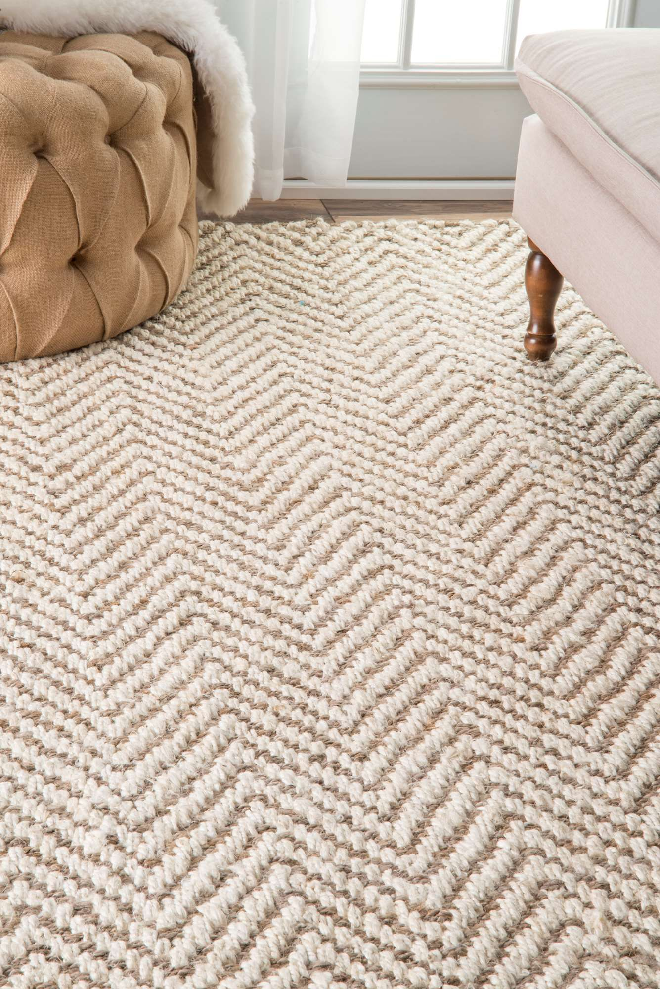 For The Home Kiwawa03 Handwoven Jute Jagged Chevron Rug