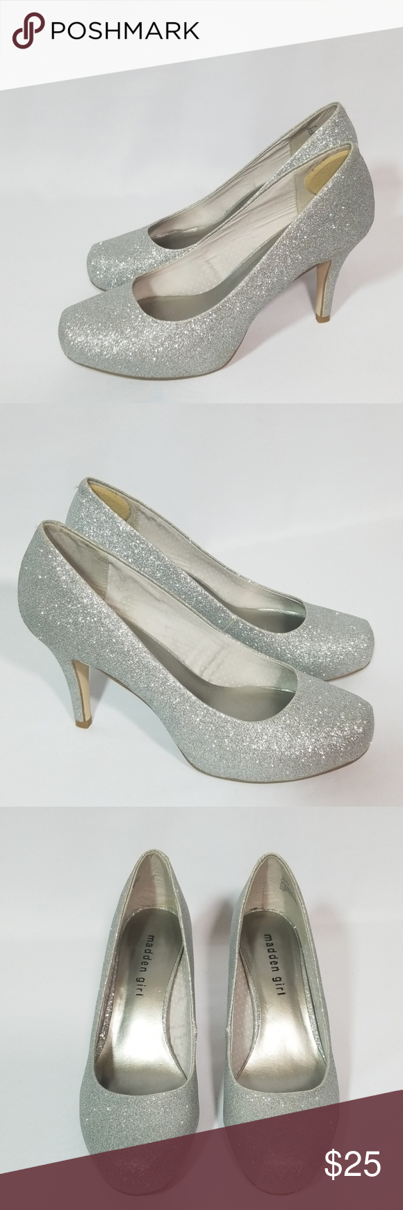 Madden Girl Sparkly Silver Shoes Heels