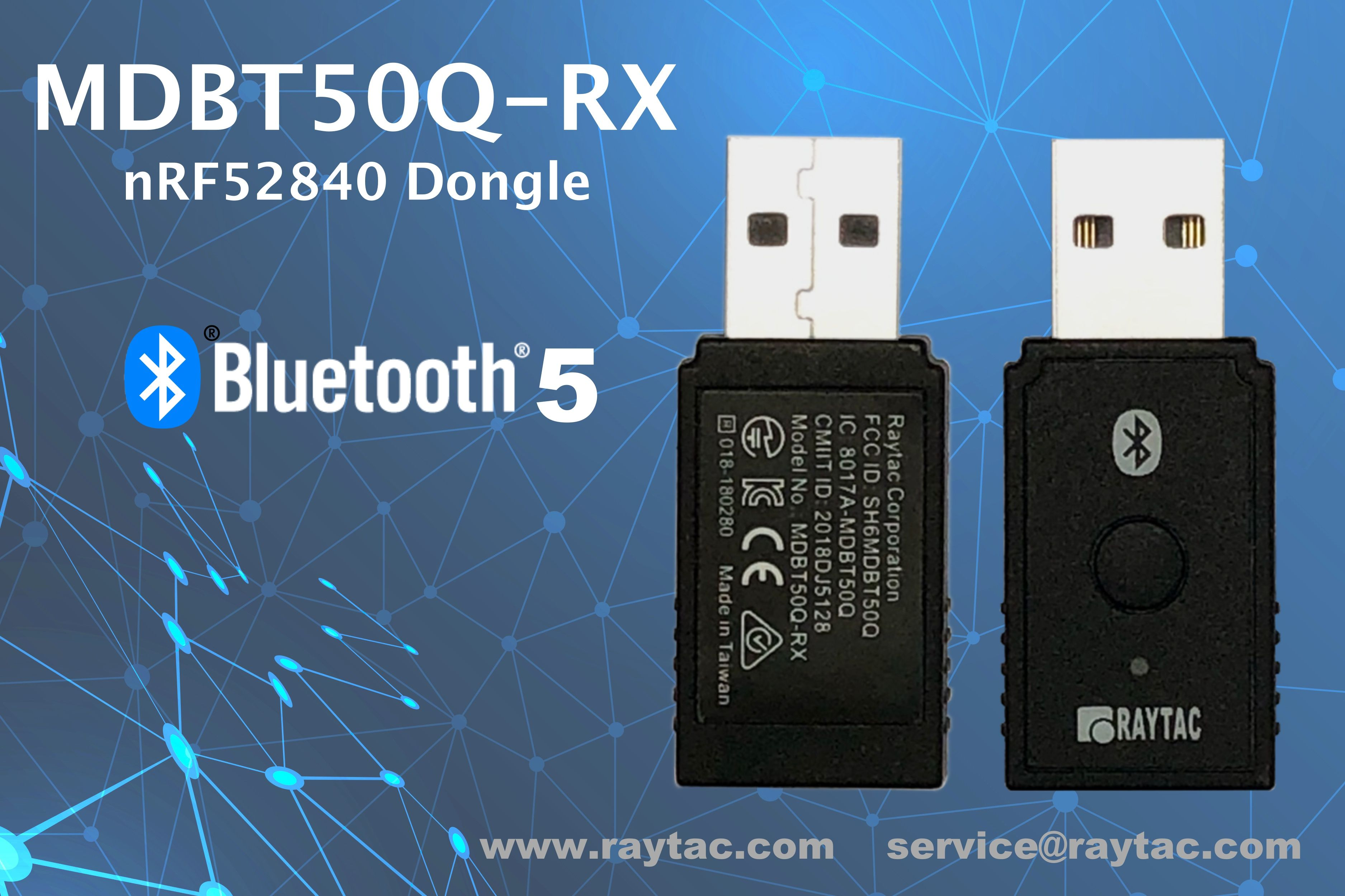 Raytac Bluetooth USB Dongle: MDBT50Q-RX Nordic nRF52840 Solution