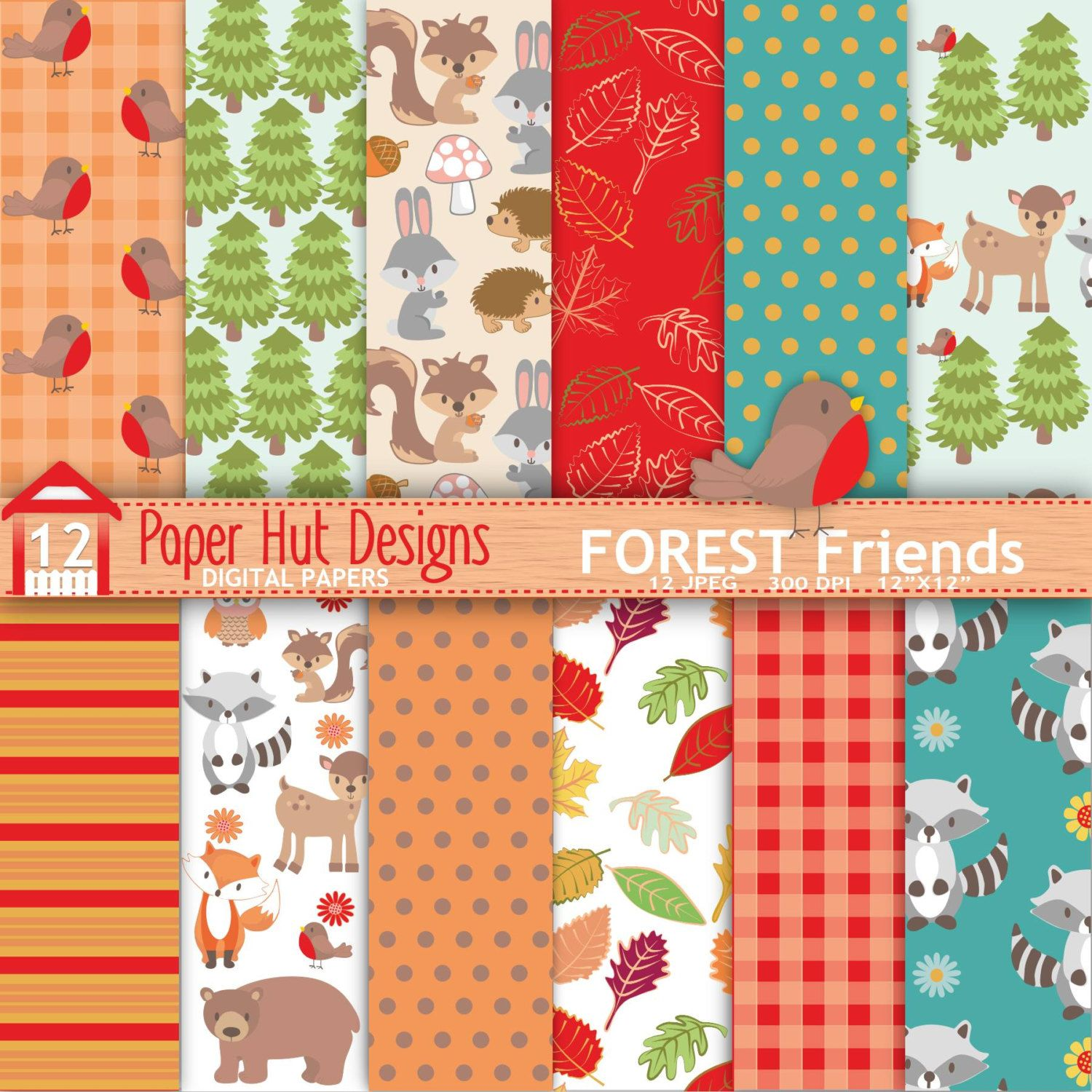 Fall Woodland Animals Digital Papers-Autumn Forest Animals Digital Scrapbook Paper-Bear-Racoon-Owl-Fox-Squirrel-Personal or Commercial Use by PaperHutDesigns on Etsy