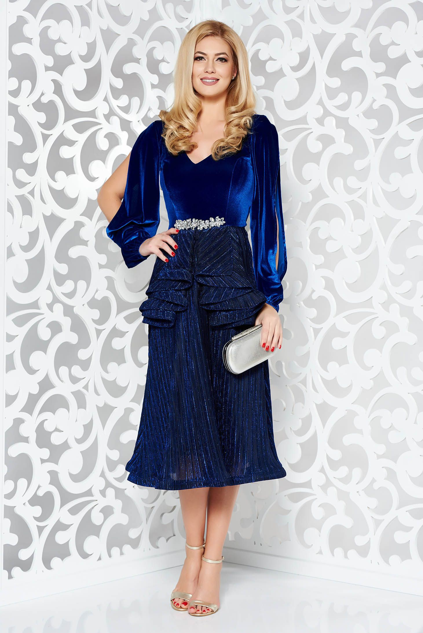 b2465ef196a1 StarShinerS Ii-XXXX Blue Dress, embellished accessories, accessorized with  tied waistband, inside lining, flaring cut,