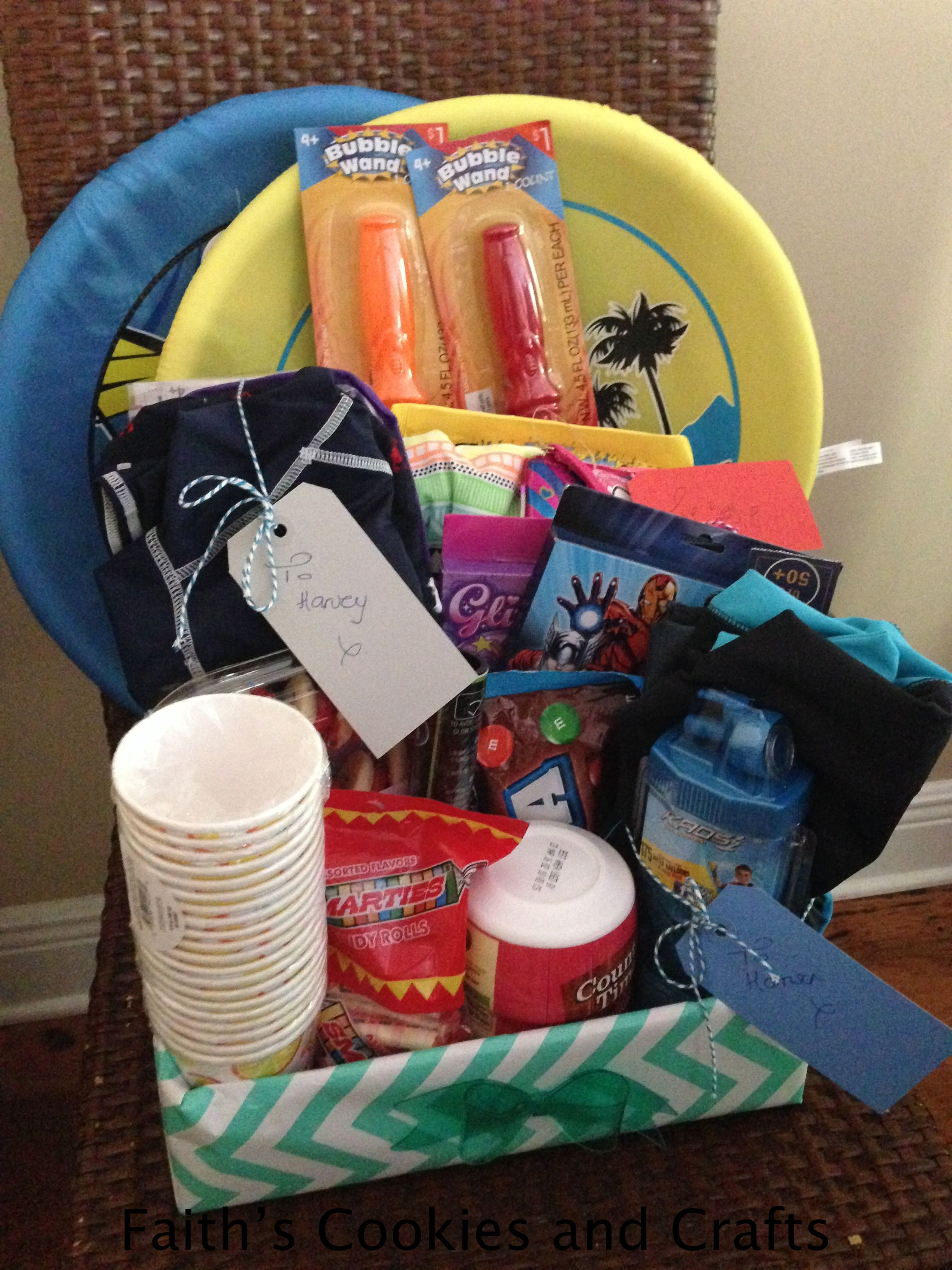 Summer Vacation Gift Basket For Our Family Arriving From England Twine And Tags From Pyp Summer Vacation Gifts Vacation Gift Basket Teacher Gifts