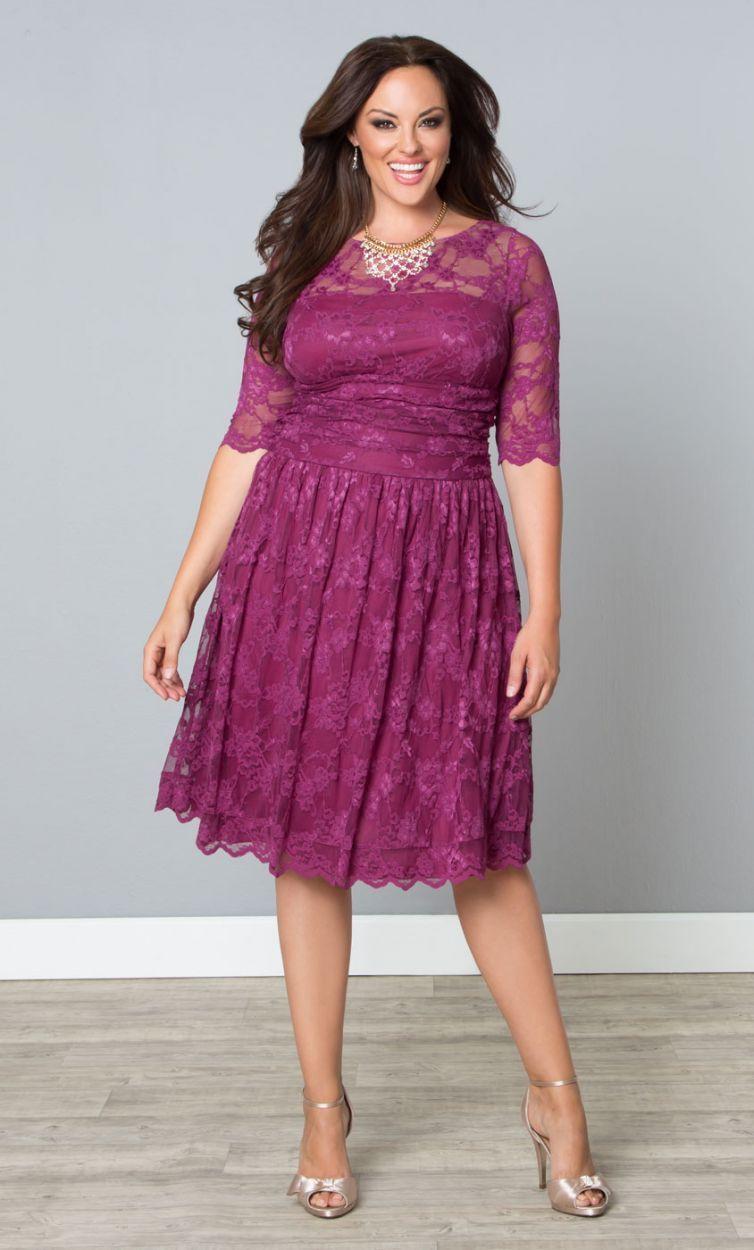 Scalloped Luna Lace Dress, Raspberry Glaze (Womens Plus Size) From ...