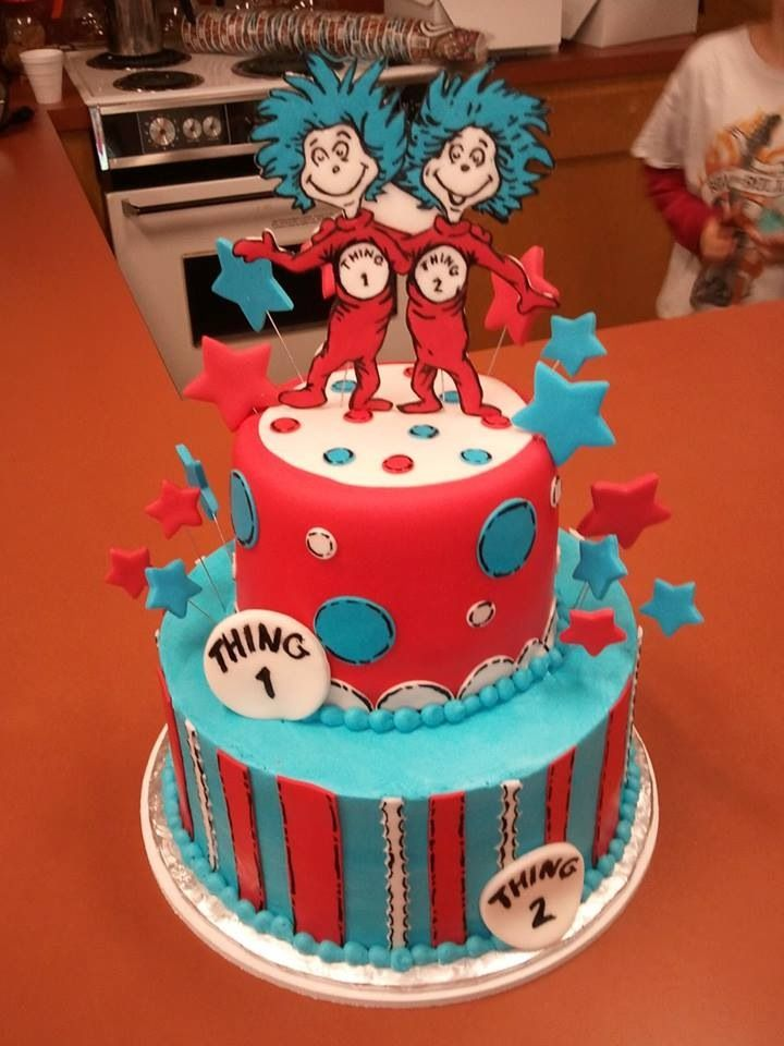 Thing 1 Thing 2 Cake With Images Twins 1st Birthdays 2nd Baby