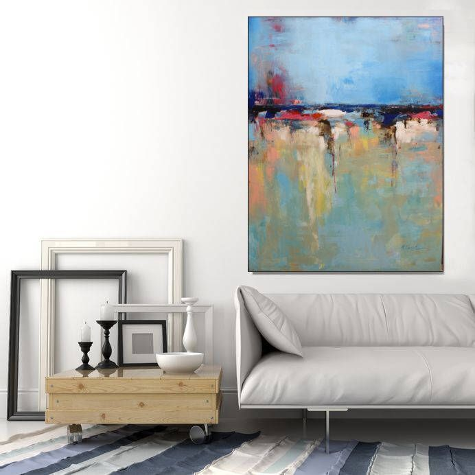 Abstract Art Large Original Wall Canvas Modern Blue Painting Living