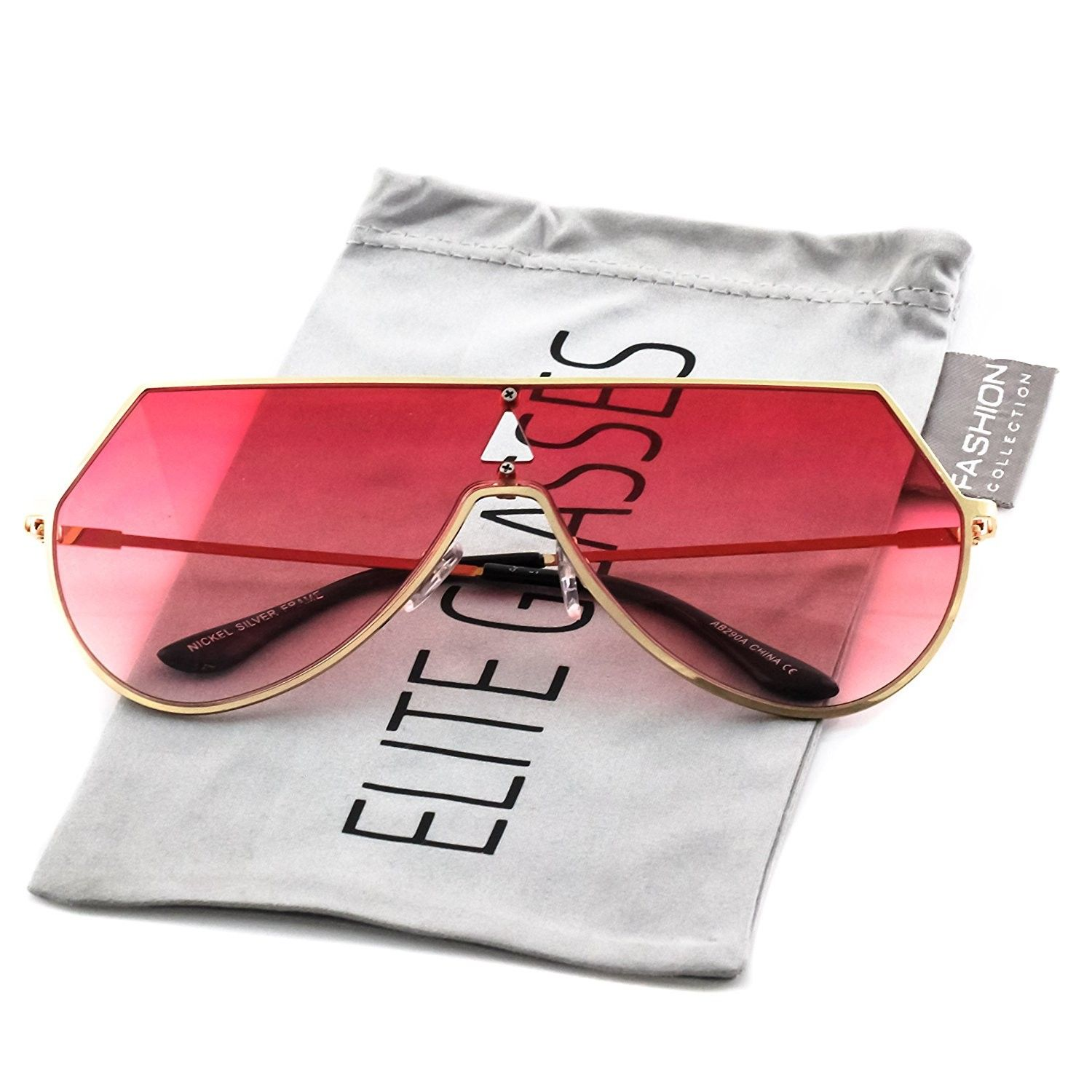 f06b3fe4089 Elite Oversize Unisex Flat Top Aviator Retro Shield Mirrored Lens Rimless  Sunglasses - Red Ombre - C1185930U4G - Women s Sunglasses