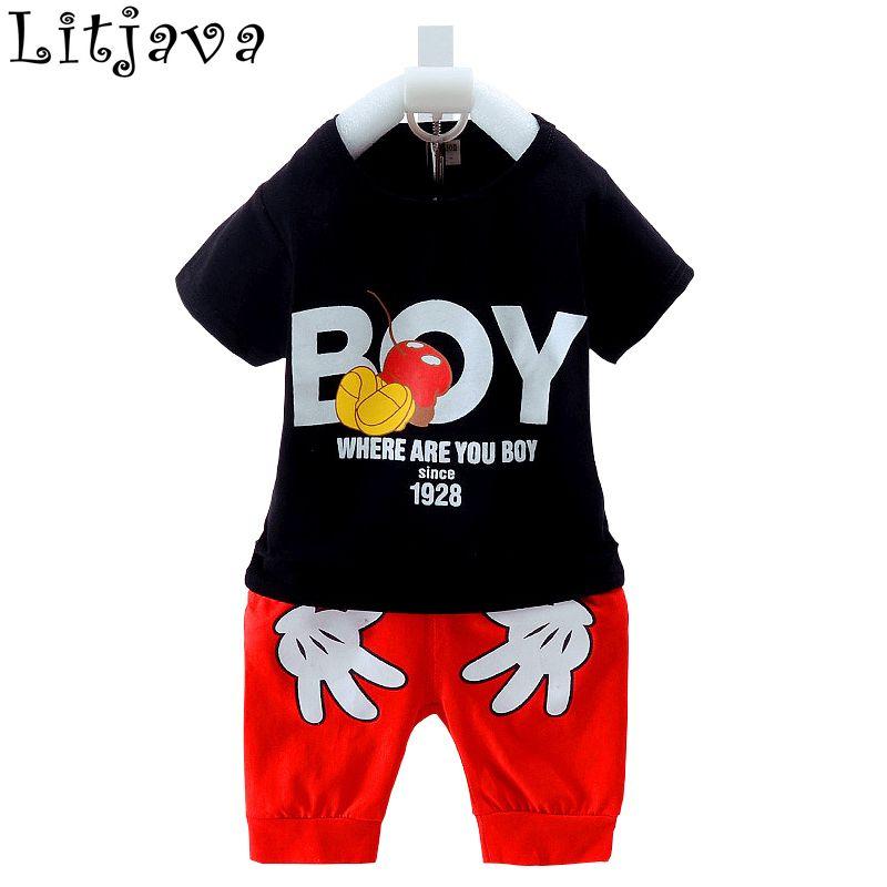 f666fdbe0985 100% Cotton Cool Baby Boy Clothes Set Summer Infant T-shirt+Pant ...