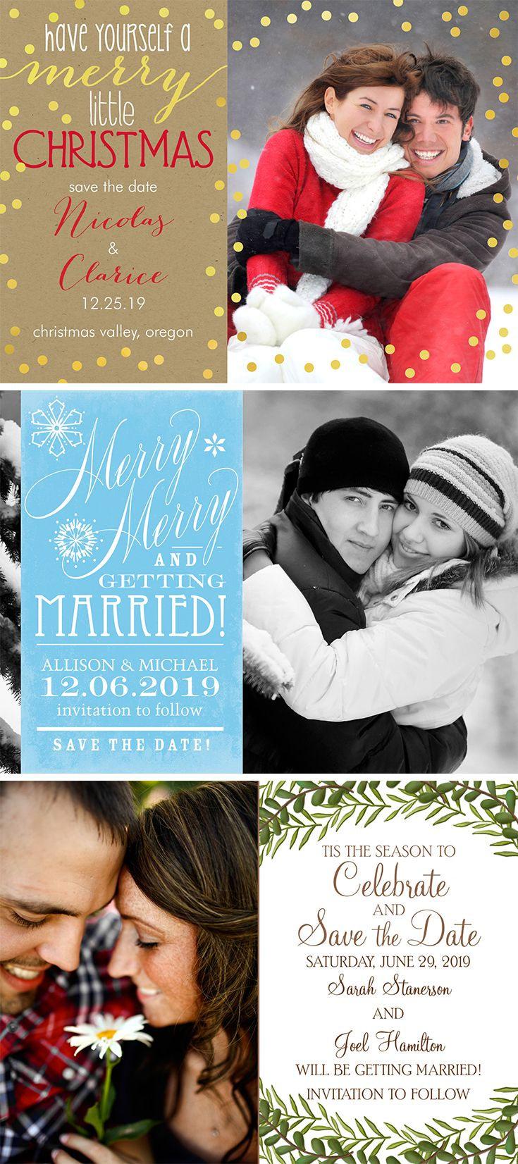 holiday themed save the dates christmassavethedates winter