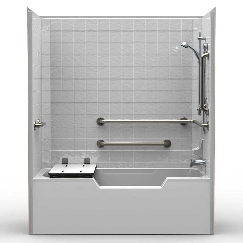 Cts6032 ada compliant tub shower single piece for new construction complete with tub seat for Ada compliant bathroom accessories