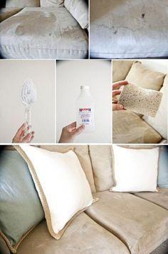 comment faire dispara tre les vilaines taches sur un canap en tissu nettoyage pinterest. Black Bedroom Furniture Sets. Home Design Ideas