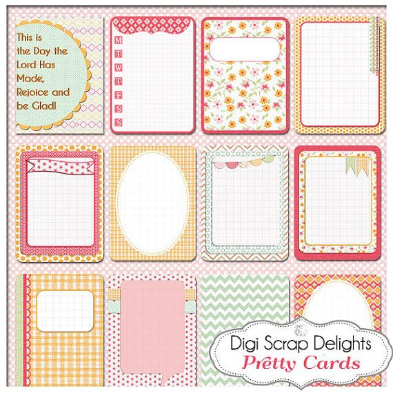 Pretty Pocket Journal Cards, Project Life Inspired 3x4 Printable PDF & PNG, Digital Scrapbooking, Instant Download