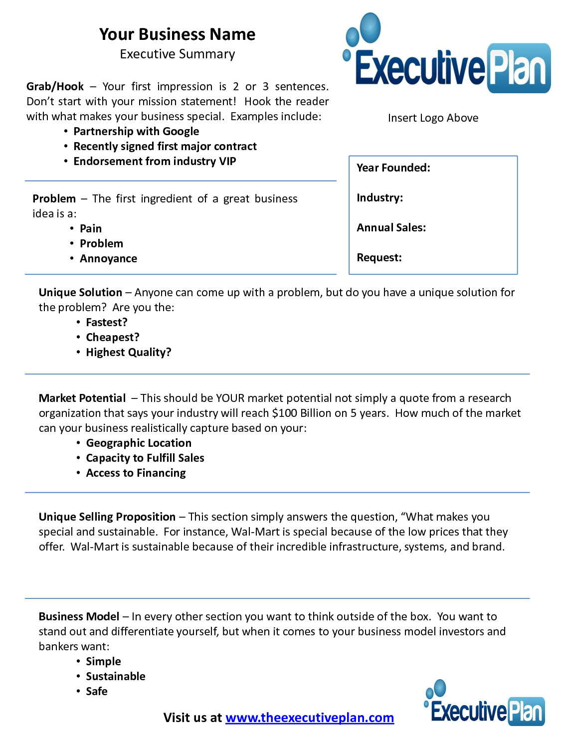 Examples Of An Executive Summary Executive Summary Template For Bank Loan Executive Summary Template Business Plan Template Executive Summary