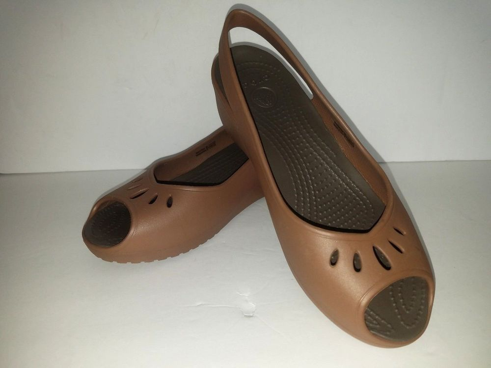 Crocs Peep Toe Wedge Sling Back Sandals