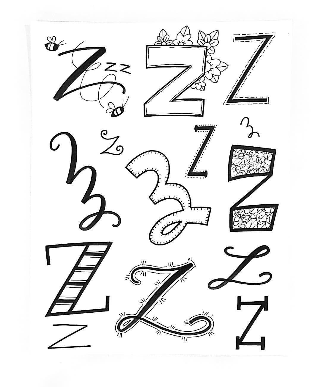 verschiedene Variationen für den Buchstaben Z zu, lettern   Letter ...