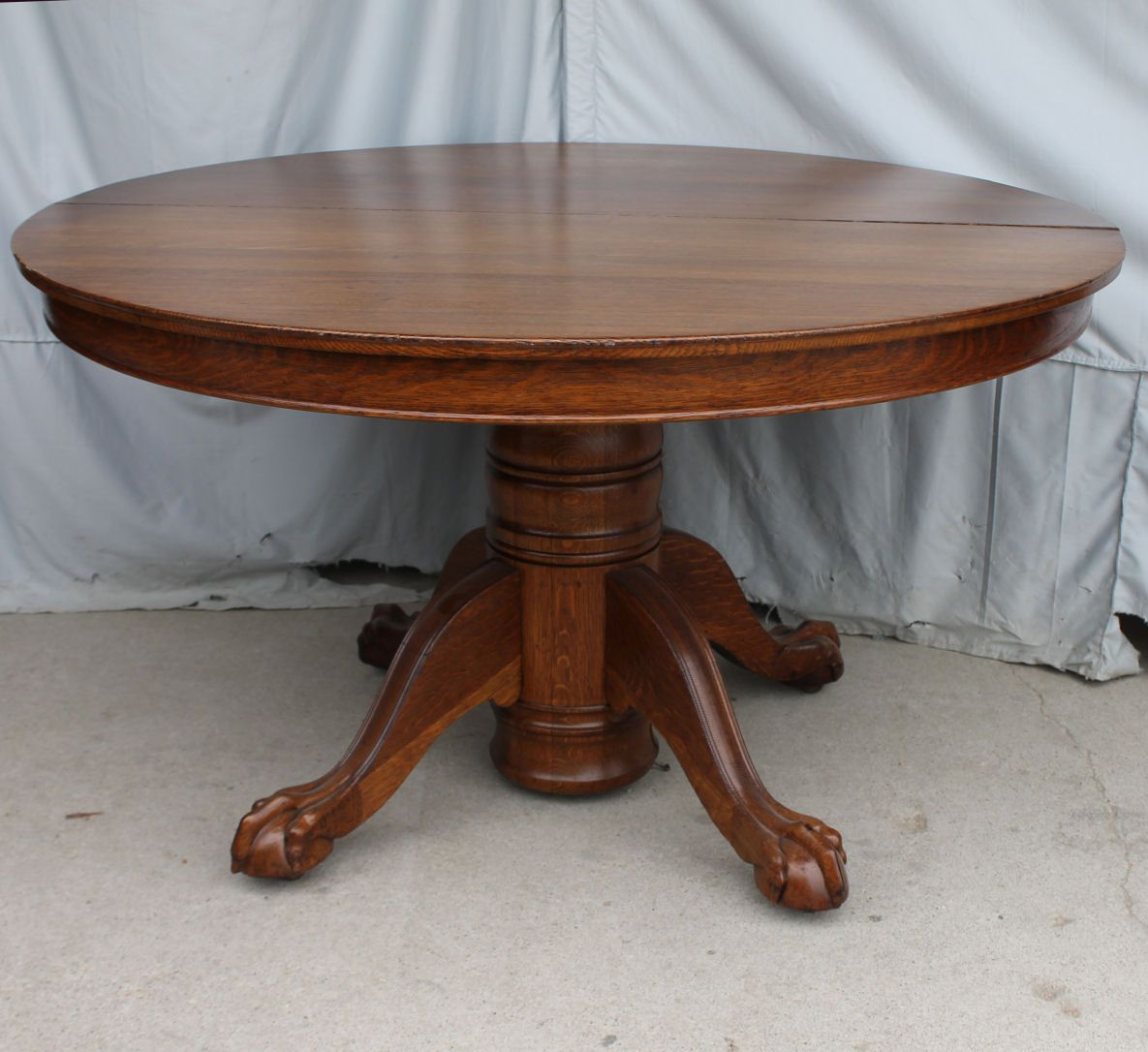 Round Oak Dining Table Claw Feet 52 2 Leaves Round Oak Dining