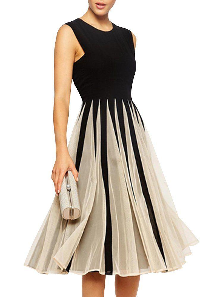 05a96cf34f7a79 SMSS Women s Tulle Splice Chiffon Colorblock Sleeveless A Line Dress  Amazon .co.uk  Clothing