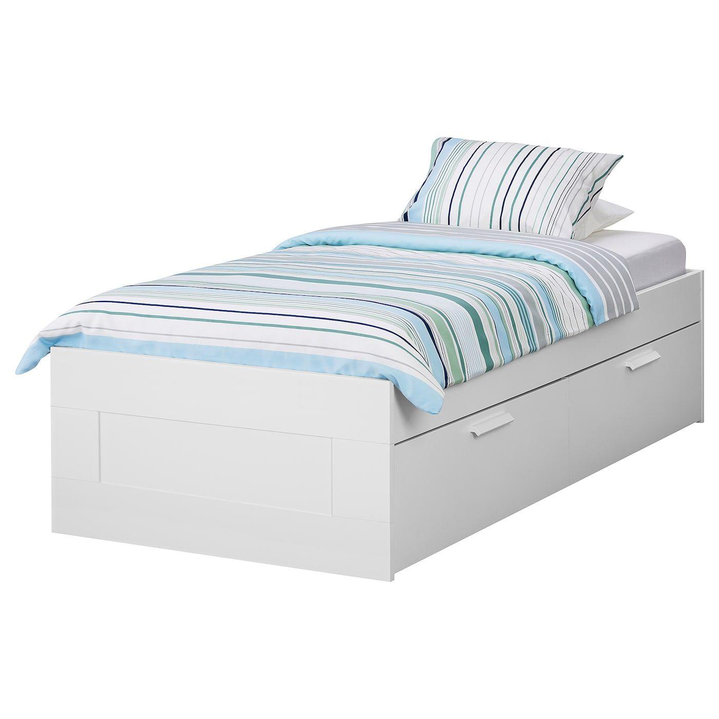 Brimnes Cadre Lit Avec Rangement Blanc 90x200 Cm Lit Rangement Cadre De Lit Rangement