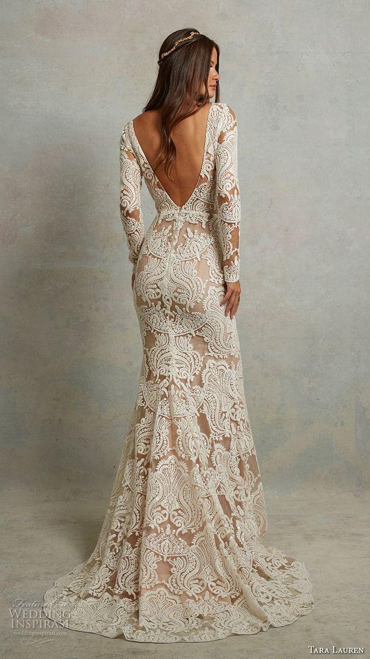 Long sleeve v neck wedding dress  tara lauren spring  bridal long sleeves v neck full