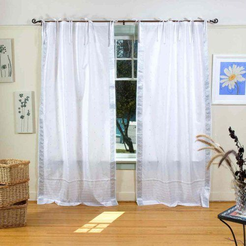 White Silver Tie Top Sheer Sari Curtain Drape Panel Piece
