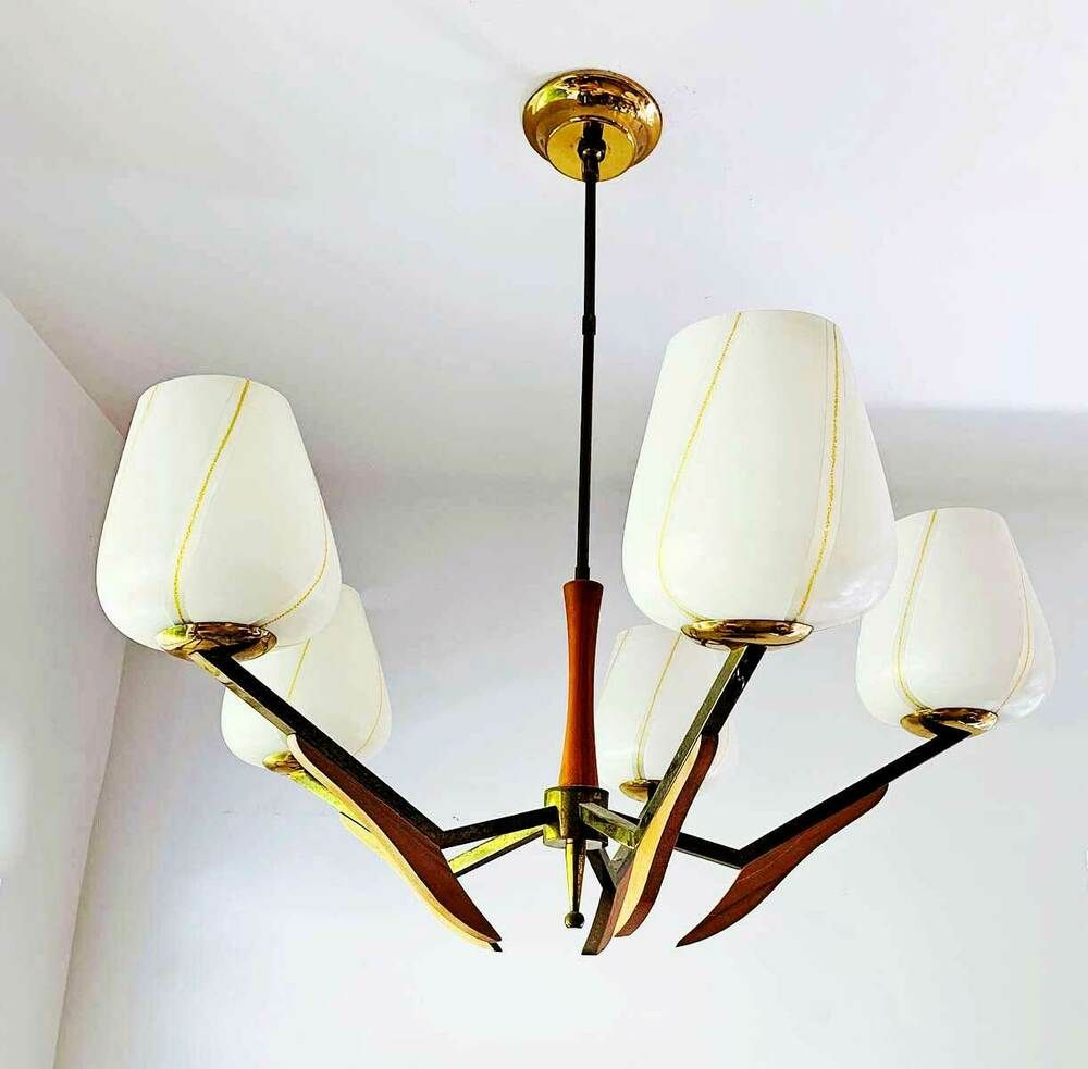 Scandinavian Mid Century Chandelier Organic Angular 5 Light Brass Glass Wood Afflink Wh Mid Century Chandelier Mid Century Modern Chandelier Modern Chandelier
