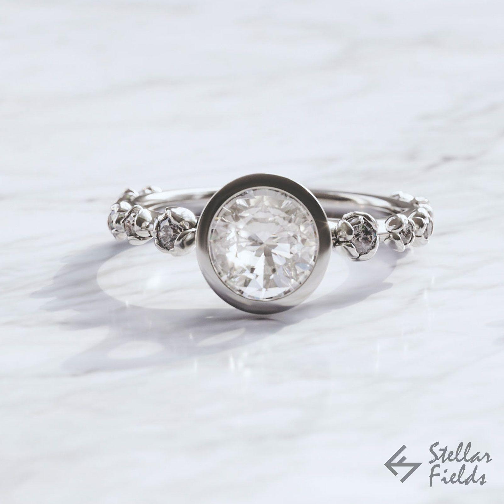 Bezel ring moissanite engagement ring flower bezel ring floral