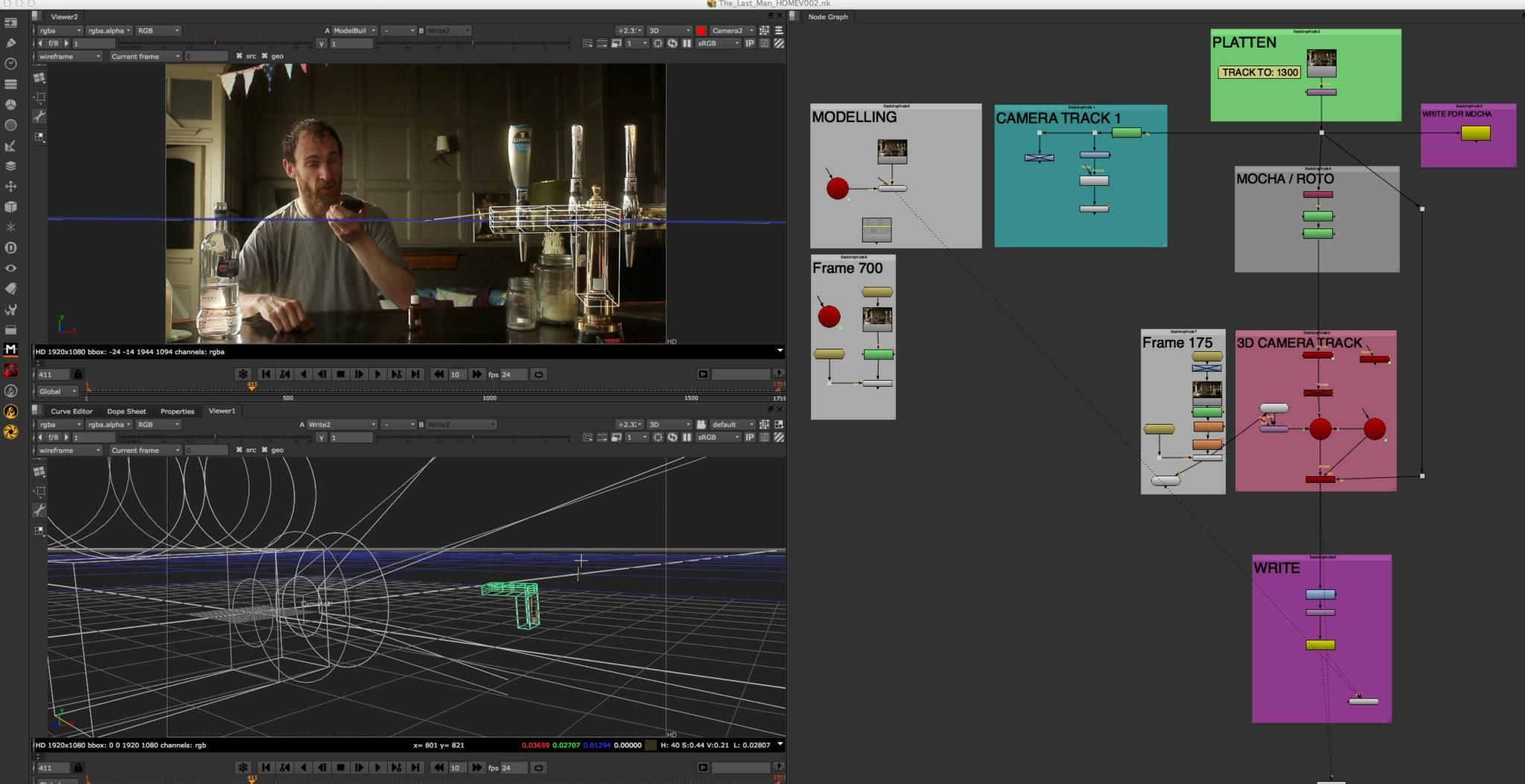 Nuke 7 projection work replacing crew reflections using the