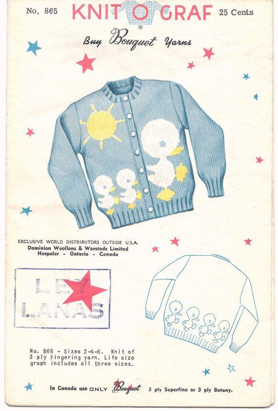 Knit O Graf Pattern 865 Child Cardigan Boy of Girl… | Vintage Sewing ...