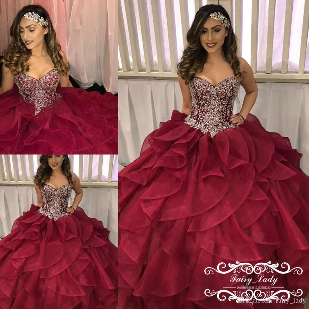 Dazzling Beaded Bodice On Flounced Tulle And Organza Ball: 2018 Tiered Cascading Ruffles Quinceanera Dresses Pageant